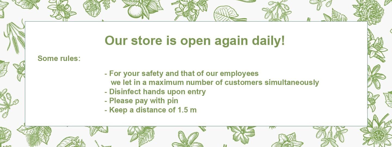 Onze winkel is weer dagelijks geopend!